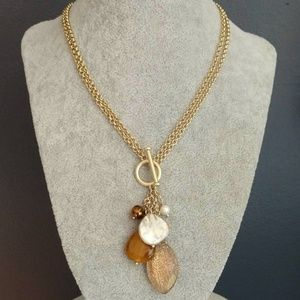 Toggle front gold necklace w/hanging baubles